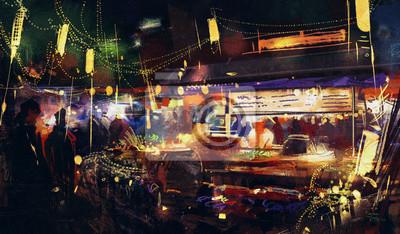 Пейзаж современный городской Картины, изображающие красочный рынок ночью ,движение на людей, идущихПейзаж современный городской<br>Репродукция на холсте или бумаге. Любого нужного вам размера. В раме или без. Подвес в комплекте. Трехслойная надежная упаковка. Доставим в любую точку России. Вам осталось только повесить картину на стену!<br>