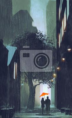 Постер Дождь Пара с красным зонтом гулять в дождь на улице в ночное время,картина иллюстрацияДождь<br>Постер на холсте или бумаге. Любого нужного вам размера. В раме или без. Подвес в комплекте. Трехслойная надежная упаковка. Доставим в любую точку России. Вам осталось только повесить картину на стену!<br>