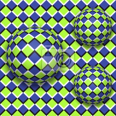 Постер-картина Оптическое искусство Шарики катятся вниз. Абстрактные векторные бесшовный фон с оптической иллюзии движения.Оптическое искусство<br>Постер на холсте или бумаге. Любого нужного вам размера. В раме или без. Подвес в комплекте. Трехслойная надежная упаковка. Доставим в любую точку России. Вам осталось только повесить картину на стену!<br>