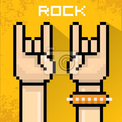 Постер-картина Пиксель-арт Вектор пиксель арт рукой знак рок-н-ролла. Пиксель-арт<br>Постер на холсте или бумаге. Любого нужного вам размера. В раме или без. Подвес в комплекте. Трехслойная надежная упаковка. Доставим в любую точку России. Вам осталось только повесить картину на стену!<br>