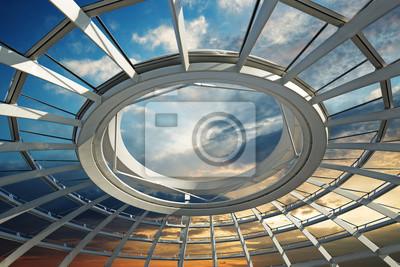 Постер-картина На потолок Закат над крышей футуристического куполаНа потолок<br>Постер на холсте или бумаге. Любого нужного вам размера. В раме или без. Подвес в комплекте. Трехслойная надежная упаковка. Доставим в любую точку России. Вам осталось только повесить картину на стену!<br>
