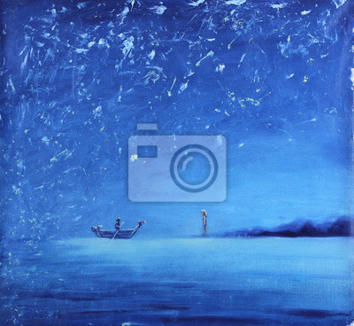 Пейзаж современный морской Ночная рыбалка, живопись масломПейзаж современный морской<br>Репродукция на холсте или бумаге. Любого нужного вам размера. В раме или без. Подвес в комплекте. Трехслойная надежная упаковка. Доставим в любую точку России. Вам осталось только повесить картину на стену!<br>
