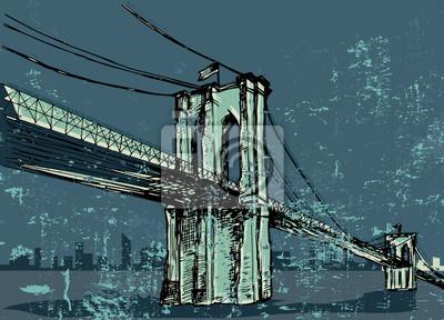 Постер Современный городской пейзаж Ручной обращается Бруклинский мост - векторСовременный городской пейзаж<br>Постер на холсте или бумаге. Любого нужного вам размера. В раме или без. Подвес в комплекте. Трехслойная надежная упаковка. Доставим в любую точку России. Вам осталось только повесить картину на стену!<br>