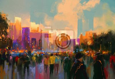 Пейзаж современный городской Красивые росписи людей в городском парке на закатеПейзаж современный городской<br>Репродукция на холсте или бумаге. Любого нужного вам размера. В раме или без. Подвес в комплекте. Трехслойная надежная упаковка. Доставим в любую точку России. Вам осталось только повесить картину на стену!<br>