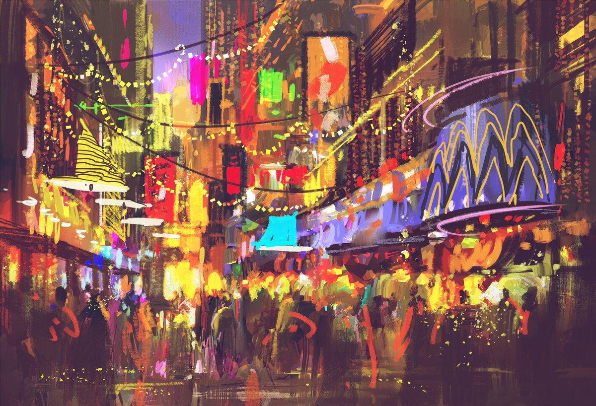 Постер Современный городской пейзаж Люди в городе улица с освещением и ночными клубами,цифровая живописьСовременный городской пейзаж<br>Постер на холсте или бумаге. Любого нужного вам размера. В раме или без. Подвес в комплекте. Трехслойная надежная упаковка. Доставим в любую точку России. Вам осталось только повесить картину на стену!<br>