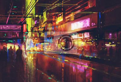 Постер Современный городской пейзаж Городская улица с освещением и ночной жизни,цифровая живописьСовременный городской пейзаж<br>Постер на холсте или бумаге. Любого нужного вам размера. В раме или без. Подвес в комплекте. Трехслойная надежная упаковка. Доставим в любую точку России. Вам осталось только повесить картину на стену!<br>