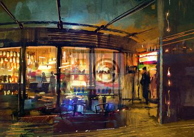 Постер Современный городской пейзаж Покраска розничный магазин вход в магазинСовременный городской пейзаж<br>Постер на холсте или бумаге. Любого нужного вам размера. В раме или без. Подвес в комплекте. Трехслойная надежная упаковка. Доставим в любую точку России. Вам осталось только повесить картину на стену!<br>