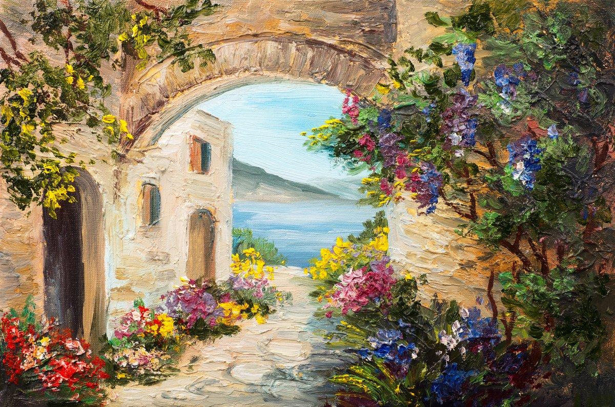 Пейзаж современный морской Картина маслом - дом возле моря, ярких цветов, летний пейзажПейзаж современный морской<br>Репродукция на холсте или бумаге. Любого нужного вам размера. В раме или без. Подвес в комплекте. Трехслойная надежная упаковка. Доставим в любую точку России. Вам осталось только повесить картину на стену!<br>