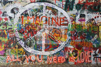 Постер-картина Стрит-арт Цветные мира граффити на стенеСтрит-арт<br>Постер на холсте или бумаге. Любого нужного вам размера. В раме или без. Подвес в комплекте. Трехслойная надежная упаковка. Доставим в любую точку России. Вам осталось только повесить картину на стену!<br>