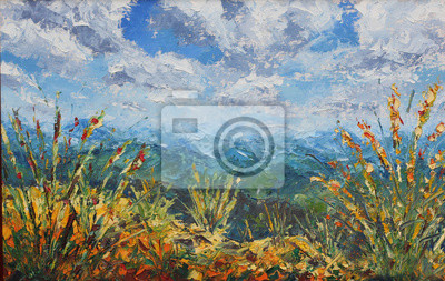Лето в горах, растительность, облака, картина маслом, 32x20 см, на бумагеПейзаж горный в современной живописи<br>Постер на холсте или бумаге. Любого нужного вам размера. В раме или без. Подвес в комплекте. Трехслойная надежная упаковка. Доставим в любую точку России. Вам осталось только повесить картину на стену!<br>
