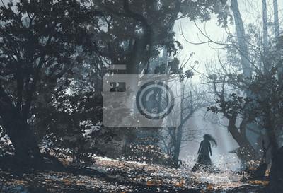 Постер Туман Женщина в таинственный темный лес,живопись, иллюстрацияТуман<br>Постер на холсте или бумаге. Любого нужного вам размера. В раме или без. Подвес в комплекте. Трехслойная надежная упаковка. Доставим в любую точку России. Вам осталось только повесить картину на стену!<br>