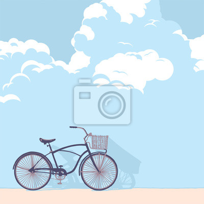 Постер-картина Велосипеды Нарисованный велосипед на фоне стены из облаковВелосипеды<br>Постер на холсте или бумаге. Любого нужного вам размера. В раме или без. Подвес в комплекте. Трехслойная надежная упаковка. Доставим в любую точку России. Вам осталось только повесить картину на стену!<br>