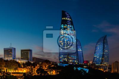 Огненные башни новые небоскребы в Баку, Азербайджан, 30x20 см, на бумагеБаку<br>Постер на холсте или бумаге. Любого нужного вам размера. В раме или без. Подвес в комплекте. Трехслойная надежная упаковка. Доставим в любую точку России. Вам осталось только повесить картину на стену!<br>