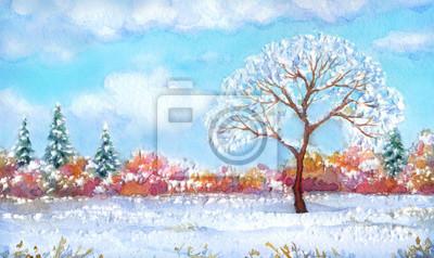 Постер Утро Акварельный пейзаж из серии дерево в разные сезоныУтро<br>Постер на холсте или бумаге. Любого нужного вам размера. В раме или без. Подвес в комплекте. Трехслойная надежная упаковка. Доставим в любую точку России. Вам осталось только повесить картину на стену!<br>