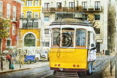 Постер-картина Трамваи Старинные трамваи в Лиссабоне. Ретро картинкиТрамваи<br>Постер на холсте или бумаге. Любого нужного вам размера. В раме или без. Подвес в комплекте. Трехслойная надежная упаковка. Доставим в любую точку России. Вам осталось только повесить картину на стену!<br>