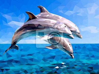 Постер-картина Полигональный арт ДельфинПолигональный арт<br>Постер на холсте или бумаге. Любого нужного вам размера. В раме или без. Подвес в комплекте. Трехслойная надежная упаковка. Доставим в любую точку России. Вам осталось только повесить картину на стену!<br>