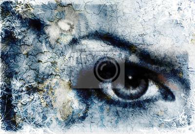 Женщины глаз сиял и птица, синий цвет живопись коллаж, с орнаментом., 29x20 см, на бумагеГлаза<br>Постер на холсте или бумаге. Любого нужного вам размера. В раме или без. Подвес в комплекте. Трехслойная надежная упаковка. Доставим в любую точку России. Вам осталось только повесить картину на стену!<br>