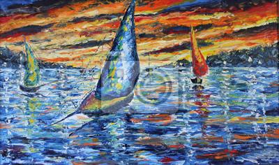Пейзаж современный морской Вечерняя прогулка на лодках, закат над озером, картина масломПейзаж современный морской<br>Репродукция на холсте или бумаге. Любого нужного вам размера. В раме или без. Подвес в комплекте. Трехслойная надежная упаковка. Доставим в любую точку России. Вам осталось только повесить картину на стену!<br>