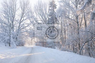 Постер Утро Пустой заснеженной лесной дороге в зимний пейзажУтро<br>Постер на холсте или бумаге. Любого нужного вам размера. В раме или без. Подвес в комплекте. Трехслойная надежная упаковка. Доставим в любую точку России. Вам осталось только повесить картину на стену!<br>