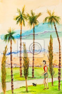 Средиземноморье, современный пейзаж Девушка на прогулкеСредиземноморье, современный пейзаж<br>Репродукция на холсте или бумаге. Любого нужного вам размера. В раме или без. Подвес в комплекте. Трехслойная надежная упаковка. Доставим в любую точку России. Вам осталось только повесить картину на стену!<br>