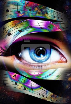 Постер-картина Фото-постеры Женщина глаз и музыка Примечание и космическое пространство со звездами. Аннотация Цвет фона, контакта с глазами., 20x29 см, на бумагеГлаза<br>Постер на холсте или бумаге. Любого нужного вам размера. В раме или без. Подвес в комплекте. Трехслойная надежная упаковка. Доставим в любую точку России. Вам осталось только повесить картину на стену!<br>