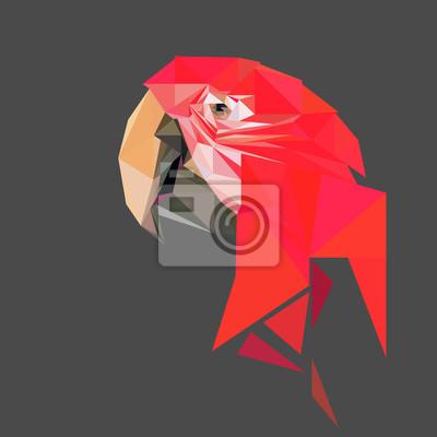 Постер-картина Полигональный арт Низкие попугай поли дизайн. Треугольник векторные иллюстрации.Полигональный арт<br>Постер на холсте или бумаге. Любого нужного вам размера. В раме или без. Подвес в комплекте. Трехслойная надежная упаковка. Доставим в любую точку России. Вам осталось только повесить картину на стену!<br>