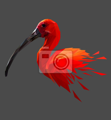 Постер-картина Полигональный арт Красный низкий птица дизайн поли. Треугольник векторные иллюстрации.Полигональный арт<br>Постер на холсте или бумаге. Любого нужного вам размера. В раме или без. Подвес в комплекте. Трехслойная надежная упаковка. Доставим в любую точку России. Вам осталось только повесить картину на стену!<br>