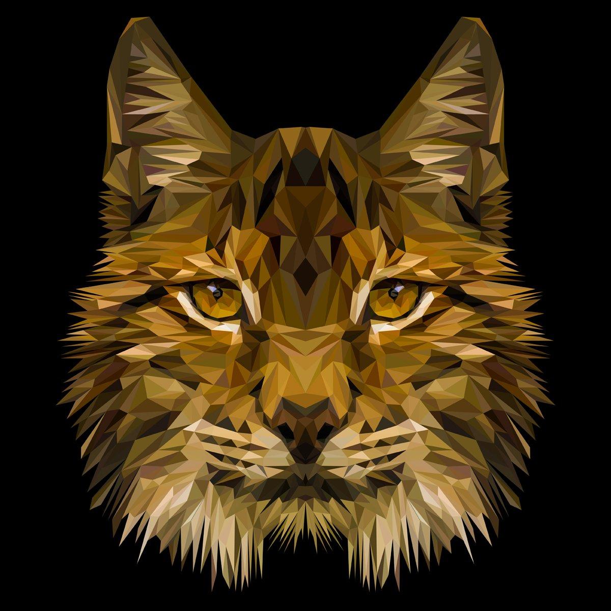 Постер-картина Полигональный арт Рысь кошка низкополигональная дизайн животное. Треугольник векторные иллюстрации.Полигональный арт<br>Постер на холсте или бумаге. Любого нужного вам размера. В раме или без. Подвес в комплекте. Трехслойная надежная упаковка. Доставим в любую точку России. Вам осталось только повесить картину на стену!<br>