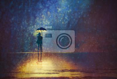 Постер Дождь Одинокая женщина под зонтиком светится в темноте,цифровая живописьДождь<br>Постер на холсте или бумаге. Любого нужного вам размера. В раме или без. Подвес в комплекте. Трехслойная надежная упаковка. Доставим в любую точку России. Вам осталось только повесить картину на стену!<br>