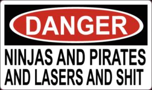 На автомобиль Наклейка «DANGER: NINJAS AND PIRATES»Разные<br><br>