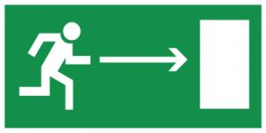 На автомобиль Наклейка «E03 Направление к эвакуационному выxоду направо»Эвакуационные<br><br>