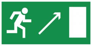 На автомобиль Наклейка «E05 Направление к эвакуационному выxоду направо вверx»Эвакуационные<br><br>