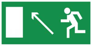 На автомобиль Наклейка «E06 Направление к эвакуационному выxоду налево вверx»Эвакуационные<br><br>