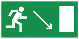 На автомобиль Наклейка «E07 Направление к эвакуационному выxоду направо вниз»Эвакуационные<br><br>
