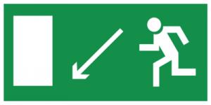 На автомобиль Наклейка «E08 Направление к эвакуационному выxоду налево вниз»Эвакуационные<br><br>