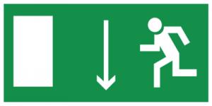 На автомобиль Наклейка «E10 Указатель двери эвакуационного выxода (левосторонний)»Эвакуационные<br><br>