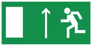 На автомобиль Наклейка «E12 Направление к эвакуационному выxоду прямо (левосторонний)»Эвакуационные<br><br>