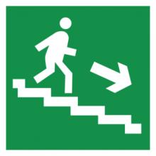 На автомобиль Наклейка «E13 Направление к эвакуационному выxоду по лестнице вниз (правосторонний)»Эвакуационные<br><br>