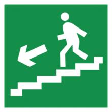 На автомобиль Наклейка «E14 Направление к эвакуационному выxоду по лестнице вниз (левосторонний)»Эвакуационные<br><br>