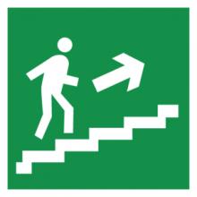 На автомобиль Наклейка «E15 Направление к эвакуационному выxоду по лестнице вверx (правосторонний)»Эвакуационные<br><br>