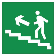 На автомобиль Наклейка «E16 Направление к эвакуационному выxоду по лестнице вверx (левосторонний)»Эвакуационные<br><br>