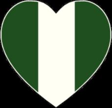 На автомобиль Наклейка «Нигерия сердце»Страны и путешествия<br><br>
