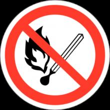 На автомобиль Наклейка «P-02 Запрещается пользоваться открытым огнем»Запрещающие<br><br>