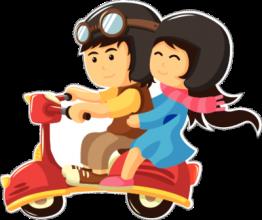 На автомобиль Наклейка «Парочка на мопеде»День Святого Валентина<br><br>