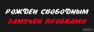 На автомобиль Наклейка «Рождён свободным, замучен пробками»Пробки<br><br>
