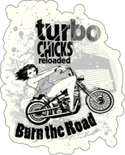 На автомобиль Наклейка «Turbo Chicks»Мото<br><br>