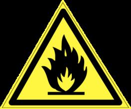 На автомобиль Наклейка «W-01 Пожароопасно. Легковоспламеняющиеся вещества»Предупреждающие<br><br>
