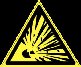 На автомобиль Наклейка «W-02 Взрывоопасно»Предупреждающие<br><br>