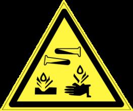 На автомобиль Наклейка «W-04 Опасно! Едкие и коррозионные вещества»Предупреждающие<br><br>