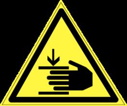 На автомобиль Наклейка «W-27 Осторожно, возможно травмирование рук»Предупреждающие<br><br>